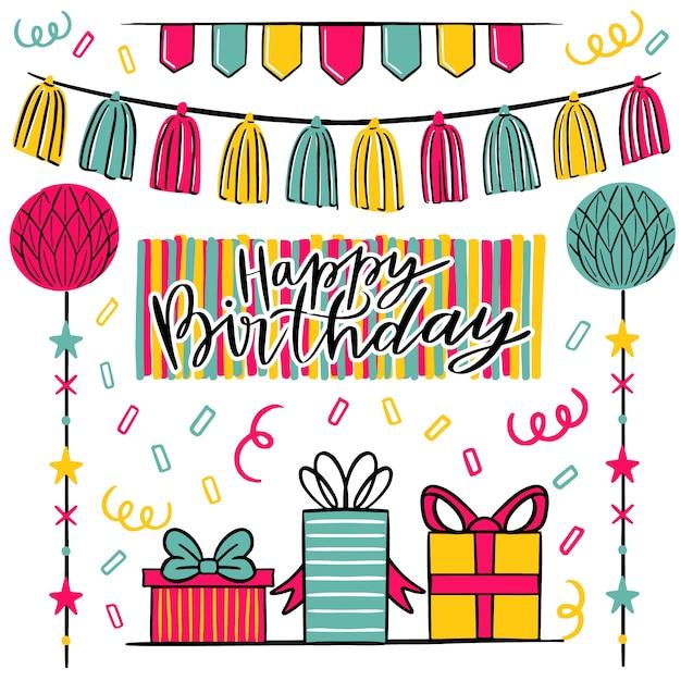 Concepto de decoración de cumpleaños vector gratuito
