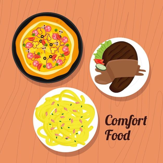 Concepto delicioso de comida reconfortante vector gratuito