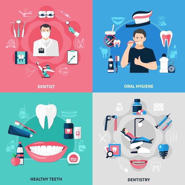 Concepto dental 2x2 vector gratuito