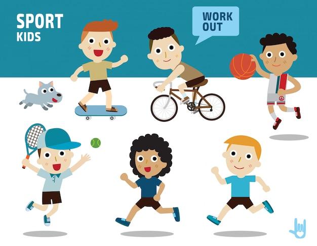 Concepto de deporte. niños diversos de disfraces y posturas de acción. Vector Premium