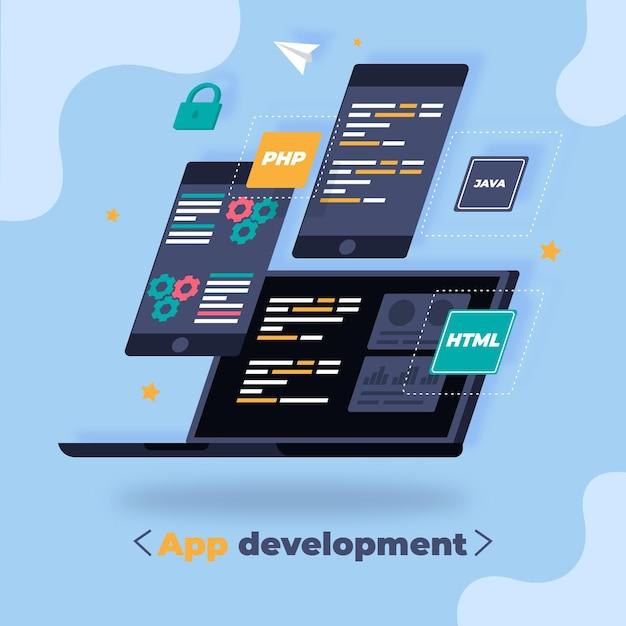 Concepto de desarrollo de aplicaciones con dispositivos. Vector Premium
