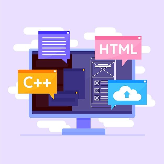 Concepto de desarrollo de aplicaciones con escritorio Vector Premium