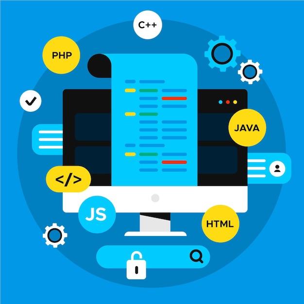 Concepto de desarrollo de aplicaciones con lenguajes de codificación y escritorio Vector Premium