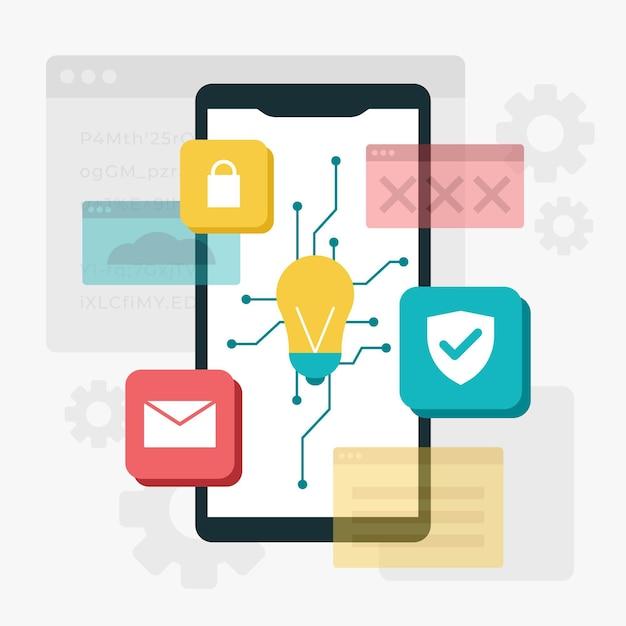 Concepto de desarrollo de aplicaciones con teléfono y bombilla. vector gratuito