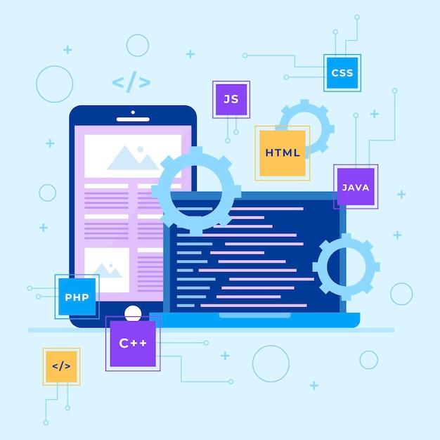 Concepto de desarrollo de aplicaciones con teléfono y computadora portátil vector gratuito