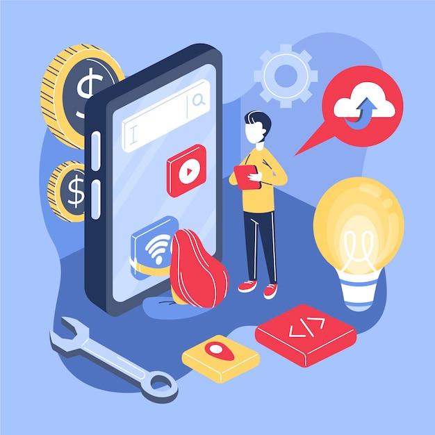 Concepto de desarrollo de aplicaciones con teléfono y personas. vector gratuito