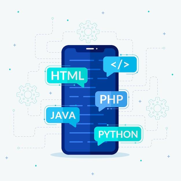Concepto de desarrollo de aplicaciones en teléfonos inteligentes Vector Premium