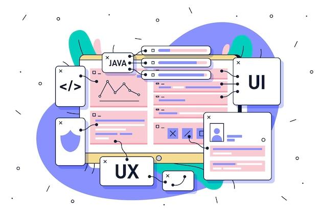 Concepto de desarrollo de aplicaciones ui y ux vector gratuito