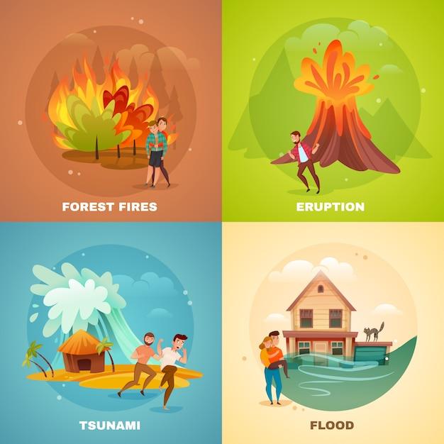 Concepto de desastres naturales vector gratuito