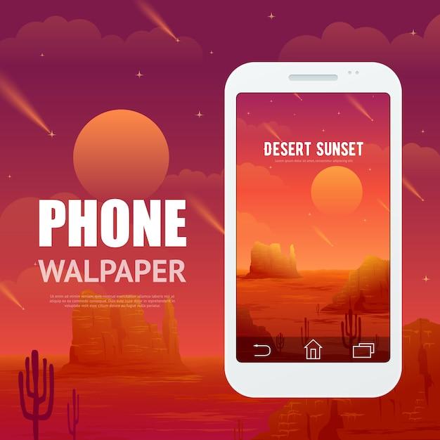 Concepto del desierto para el teléfono walpaper vector gratuito