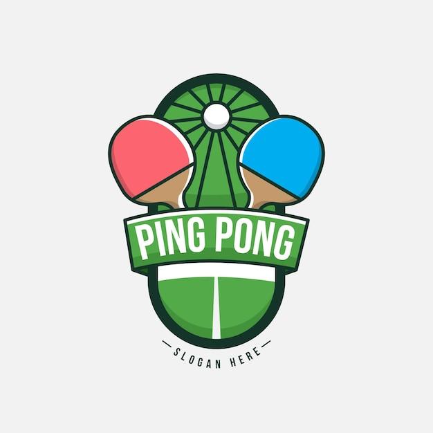 Concepto detallado del logo de tenis de mesa vector gratuito