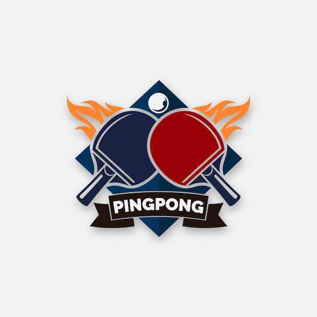 Concepto detallado del logo de tenis de mesa Vector Premium