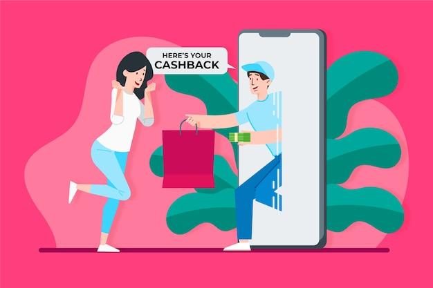 Concepto de devolución de dinero con mujer y teléfono Vector Premium