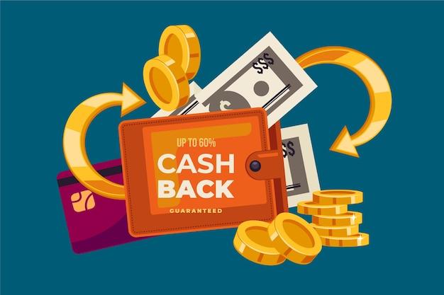 Concepto de devolución de efectivo con tarjeta de crédito y billetera vector gratuito
