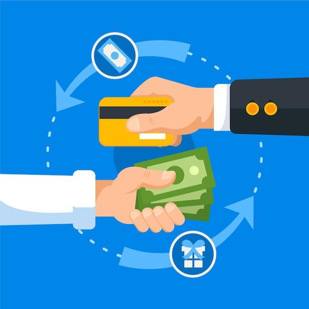 Concepto de devolución con tarjeta de crédito y billetes | Vector Gratis