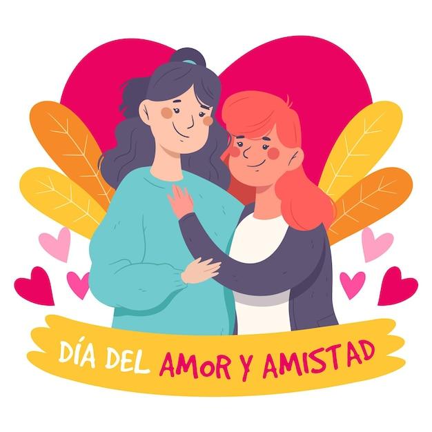 Concepto de día de amor y amistad vector gratuito