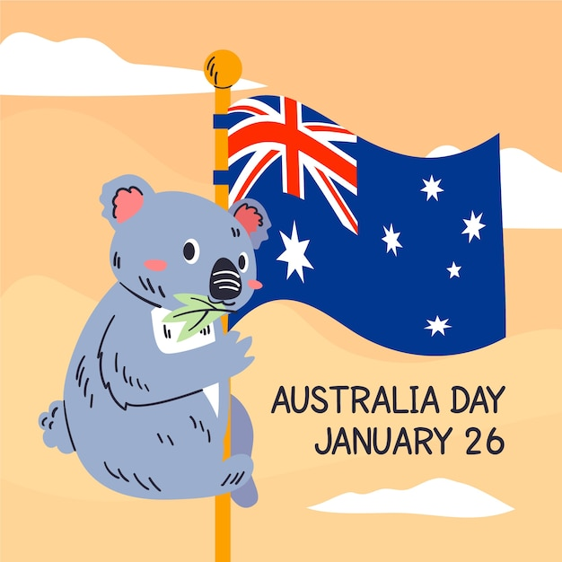 Concepto de día de australia dibujado a mano vector gratuito