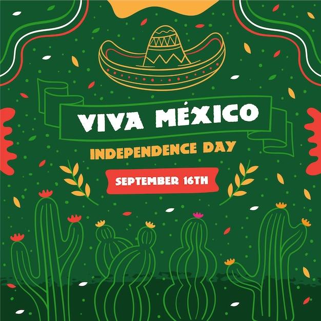 Concepto de día de independencia méxico dibujado a mano Vector Premium