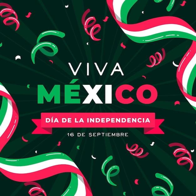 Concepto de día de independencia mexico de diseño plano Vector Premium