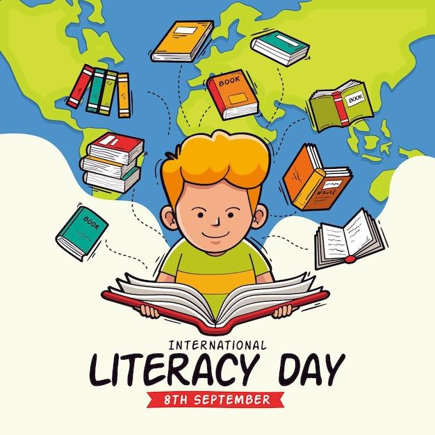 Concepto de día internacional de alfabetización dibujado a mano Vector Premium