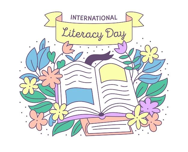 Concepto de día internacional de alfabetización dibujado a mano vector gratuito