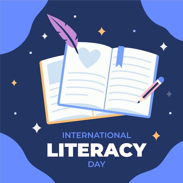 Concepto de día internacional de alfabetización de diseño plano vector gratuito