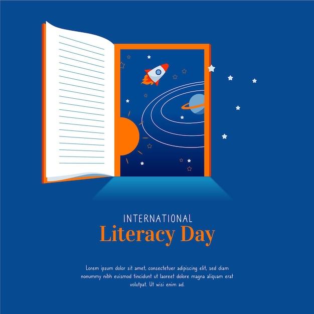 Concepto de día internacional de alfabetización de diseño plano Vector Premium