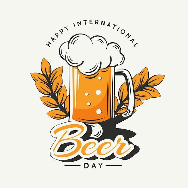 Concepto de día internacional de la cerveza dibujado a mano vector gratuito