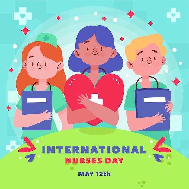 Concepto del día internacional de enfermeras vector gratuito