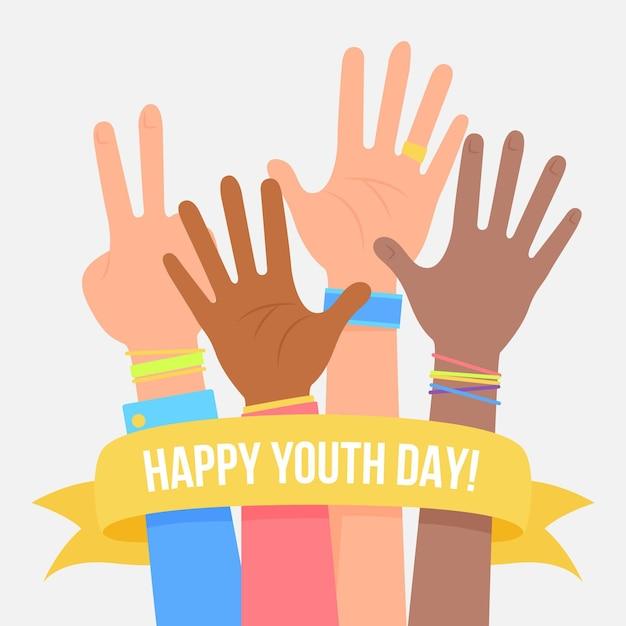 Concepto de día de la juventud en diseño plano Vector Premium