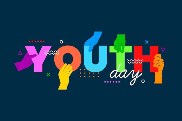 Concepto de día de la juventud de siluetas vector gratuito
