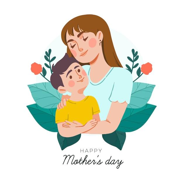 Concepto de día de la madre dibujado a mano vector gratuito