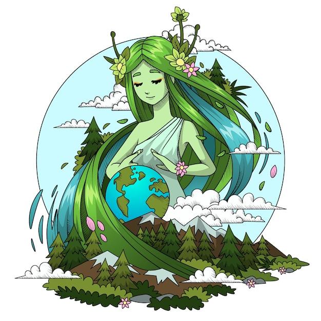 Concepto de día de la madre tierra dibujado a mano | Vector Gratis
