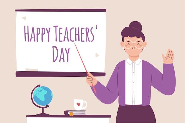 Concepto del día del maestro dibujado a mano vector gratuito