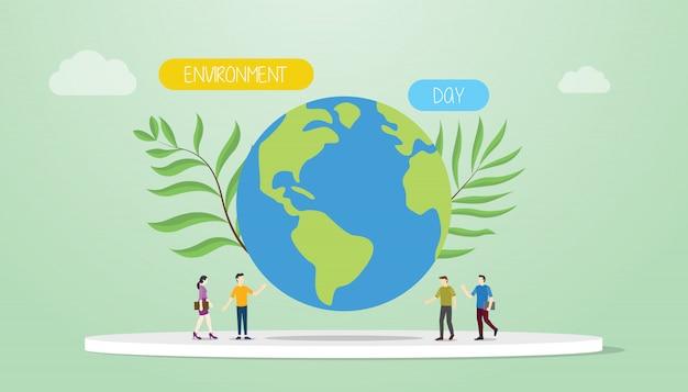 Concepto del día del medio ambiente con gran tierra y planta verde con personas y palabras del equipo Vector Premium