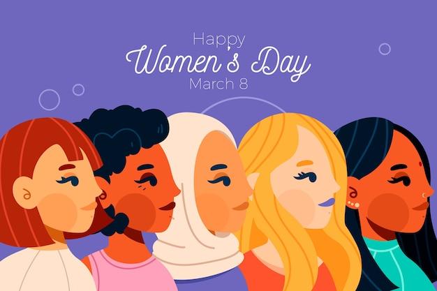 Concepto de día de la mujer en diseño plano vector gratuito
