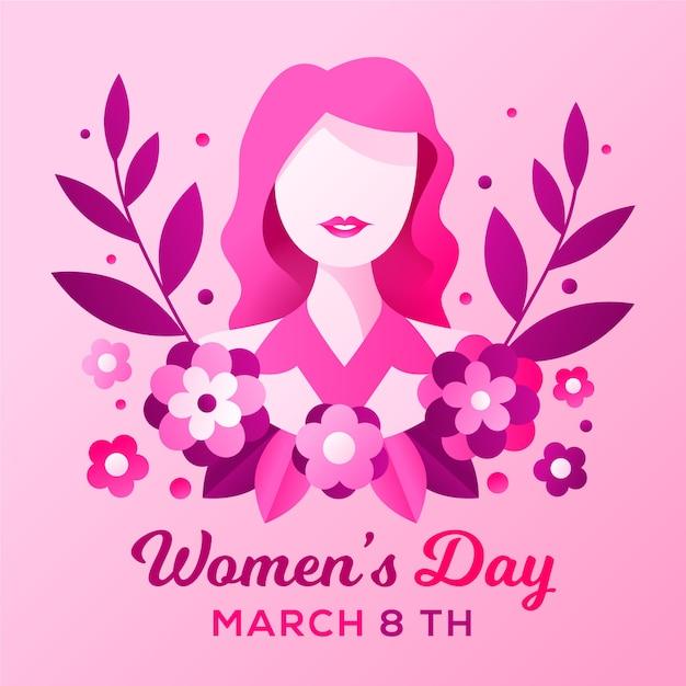 Concepto de día para mujer de diseño plano vector gratuito