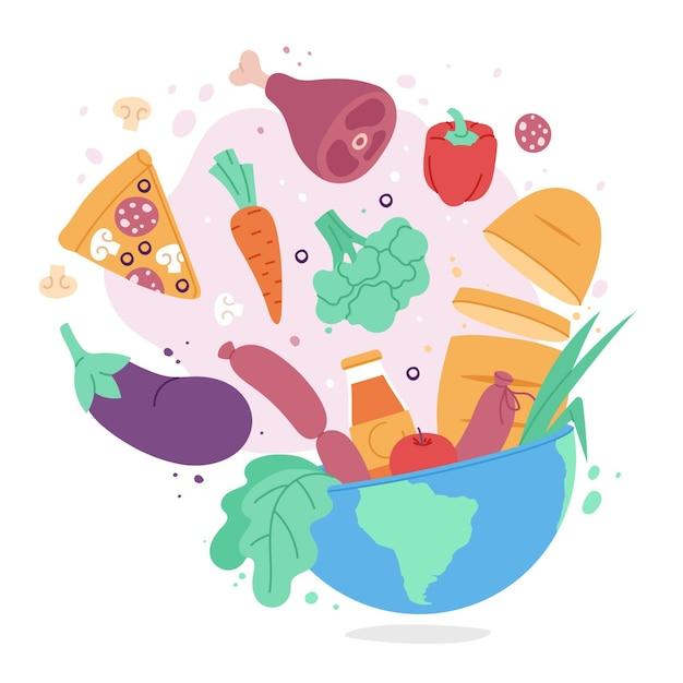 Concepto de día mundial de la alimentación dibujado a mano Vector Premium