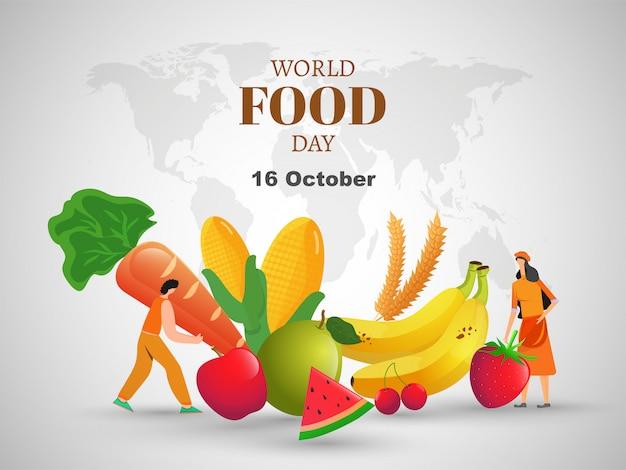 Concepto del día mundial de la alimentación. Vector Premium