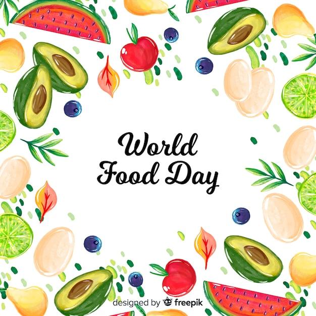 Concepto del día mundial de la comida con fondo de acuarela vector gratuito