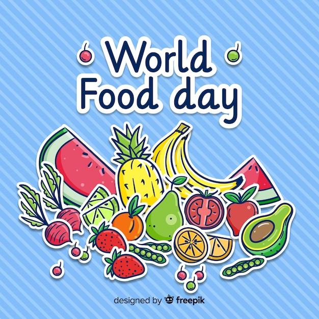 Concepto del día mundial de la comida con fondo dibujado a mano vector gratuito