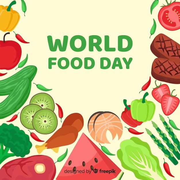 Concepto del día mundial de la comida con fondo de diseño plano vector gratuito