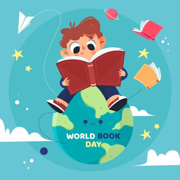 Concepto de día mundial del libro dibujado a mano vector gratuito