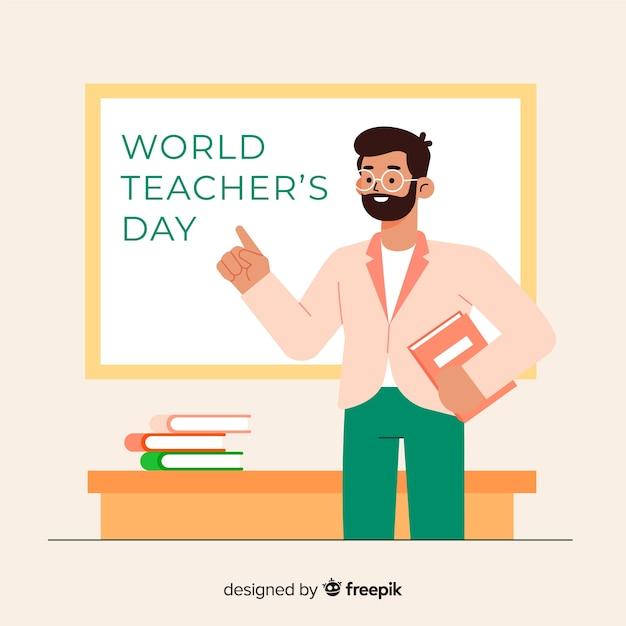 Concepto de día mundial del maestro de diseño plano vector gratuito