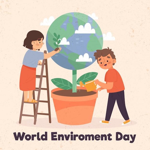 Concepto de día mundial del medio ambiente de diseño plano vector gratuito