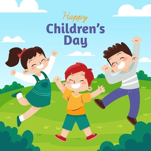 Concepto del día mundial del niño dibujado a mano Vector Premium
