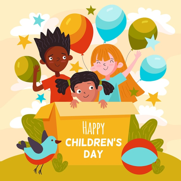 Concepto del día mundial del niño dibujado a mano vector gratuito