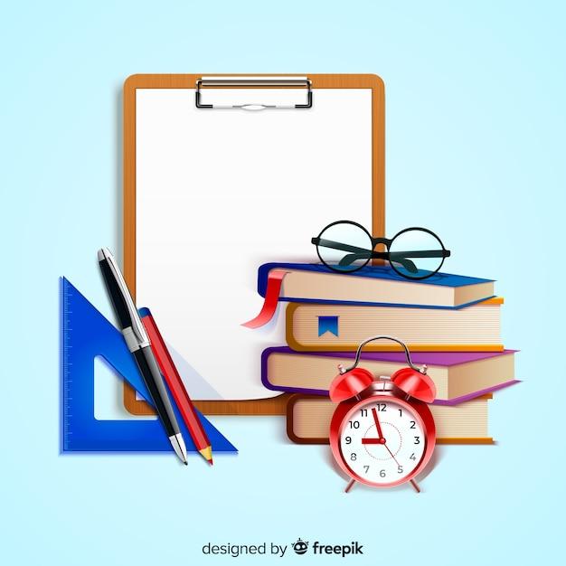 Concepto del día mundial del profesorado con antecedentes realistas vector gratuito