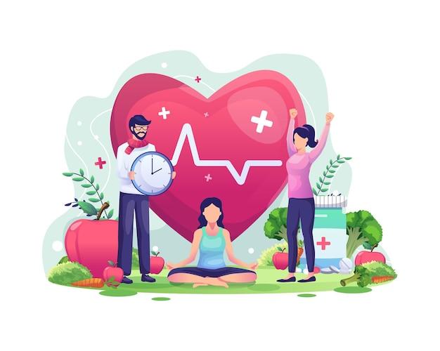Concepto del día mundial de la salud con personajes que las personas están haciendo ejercicio, yoga, viviendo de manera saludable Vector Premium