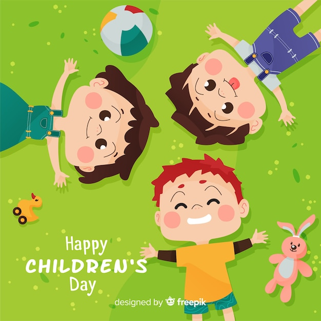 Concepto del día del niño en diseño plano Vector Premium